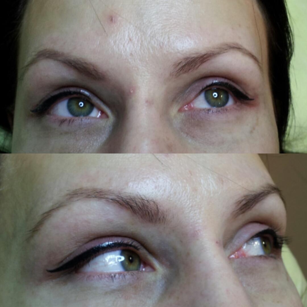 Перманентный макияж век фото до после